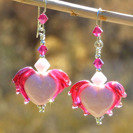pink fuchsia lampwork winged hearts earrings valentines gift for women