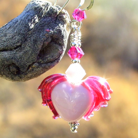 pink fuchsia lampwork winged hearts jewelry valentines gift for women