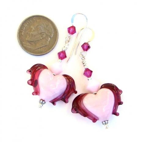 pink fuchsia valentines handmade earrings lampwork crystals