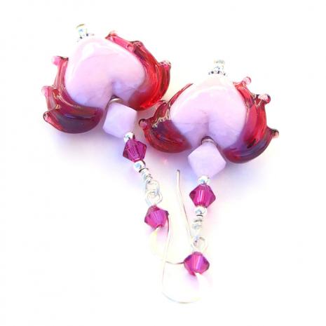 pink fuchsia valentines handmade jewelry lampwork crystals