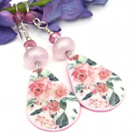 pink green roses earrings flower jewelry gift for her