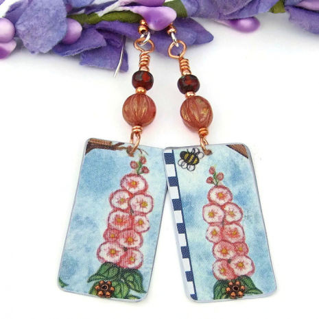 lightweight flower jewelry from vintage cookie tin