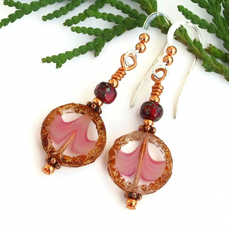 handmade pink and brown jewelry with ruby red accents