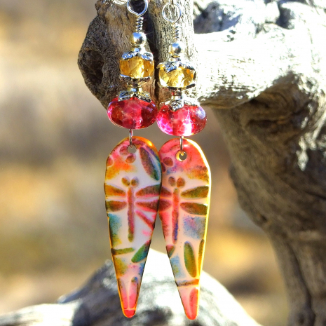pink lampwork dragonfly dangle earrings handmade