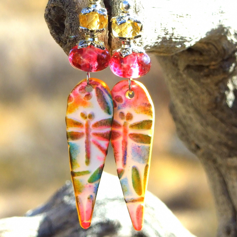 pink lampwork dragonfly dangle jewelry handmade