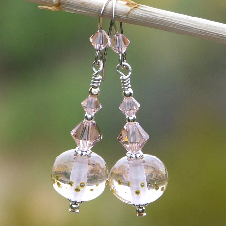 pink lampwork earrings gift for women