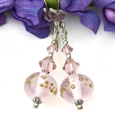 pink lampwork swarovski crystal jewelry