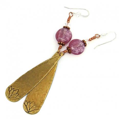 Lotus flower earrings.