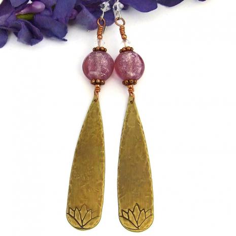 Lotus flower earrings for yoga.