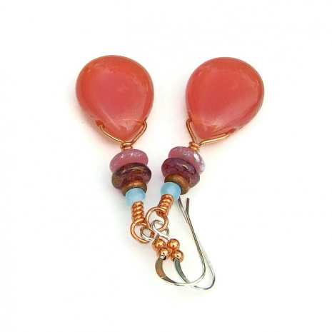 pink opal czech glass jewelry for her
