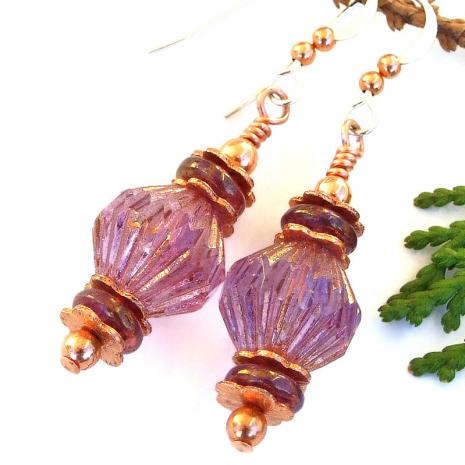 pink purple copper handmade earrings