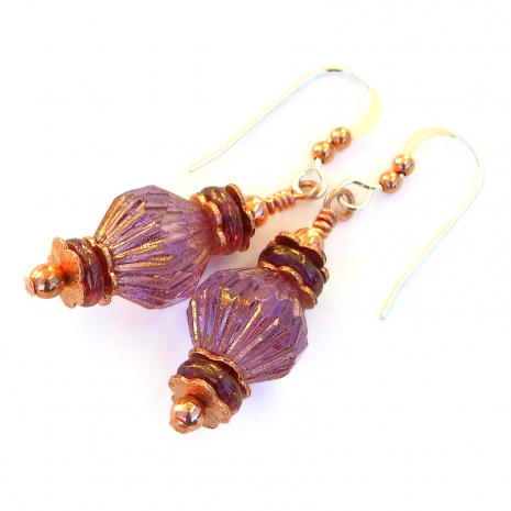pink purple fluted bicone earrings gift for women