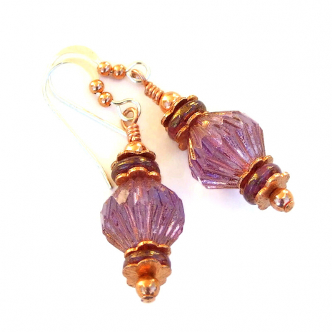 pink purple fluted bicone jewelry gift for women
