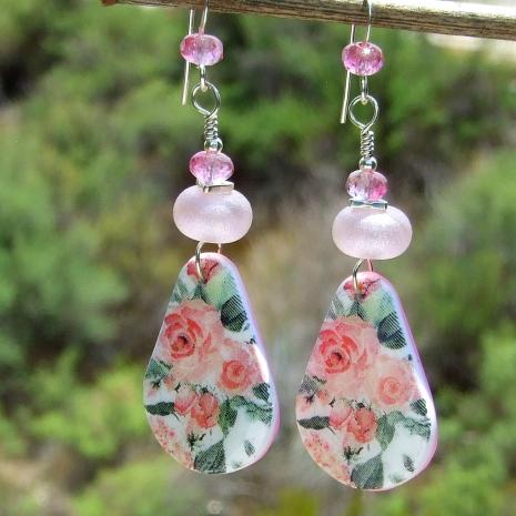 pink roses earrings gift for women