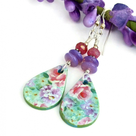 flower garden earrings gift idea