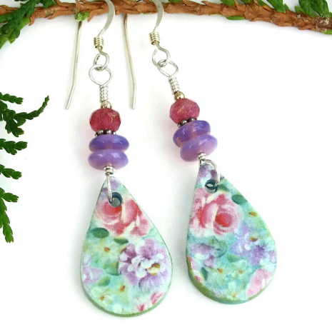 floral polymer clay dangle earrings for her