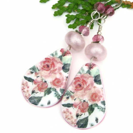 pink roses polymer clay earrings lightweight flower jewelry