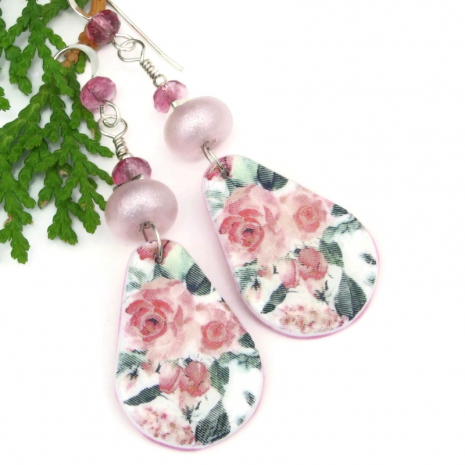 pink roses polymer clay jewelry lightweight flower earrings