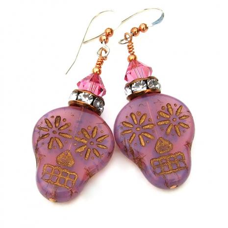 pink sugar skull earrings gift for her