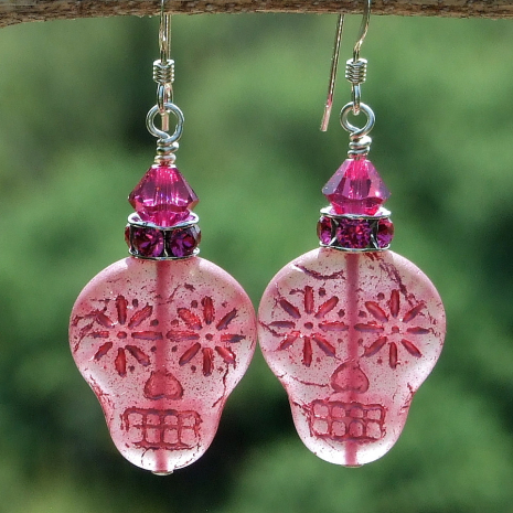 pink sugar skulls earrings gift for women