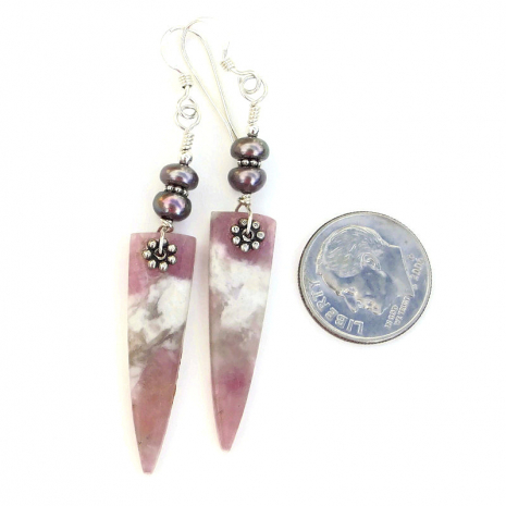 pink tourmaline in quartz and peacock pearl spike jewelry