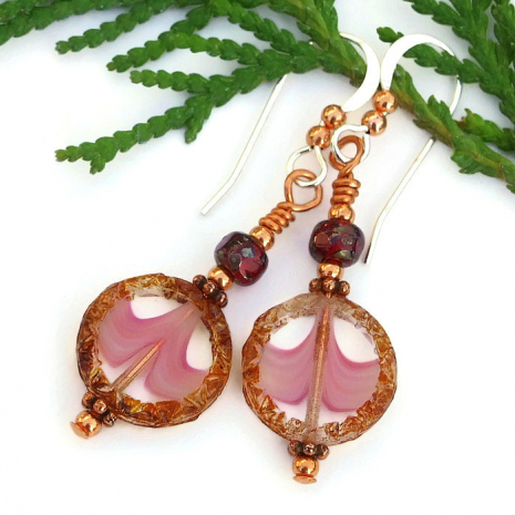 pink and brown earrings gift for women