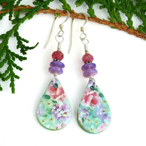 handmade flower floral teardrop earrings for her.