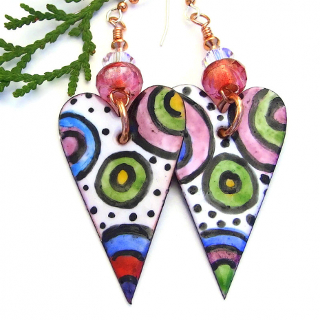 pink white red green black and blue enamel valentines heart earrings