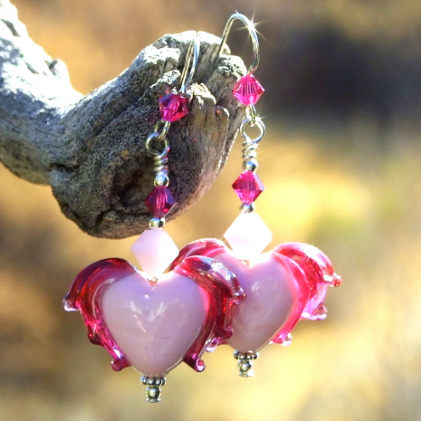 pink winged hearts earrings gift for her