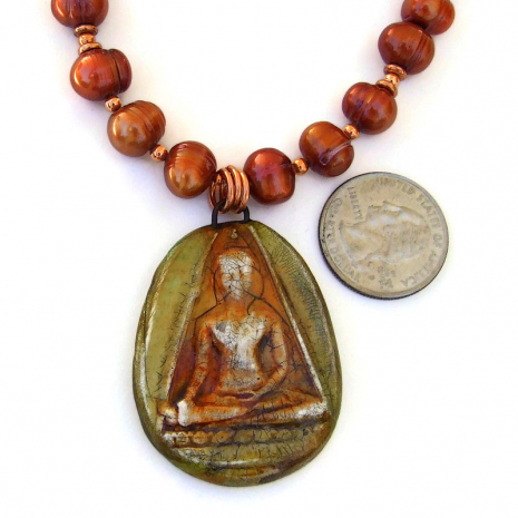 polymer clay buddha pendant jewelry with pearls