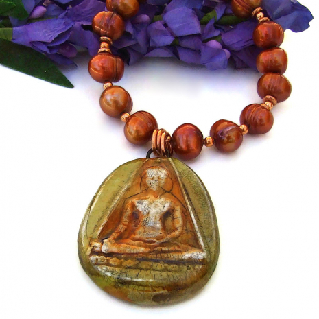 polymer clay buddha pendant necklace with pearls