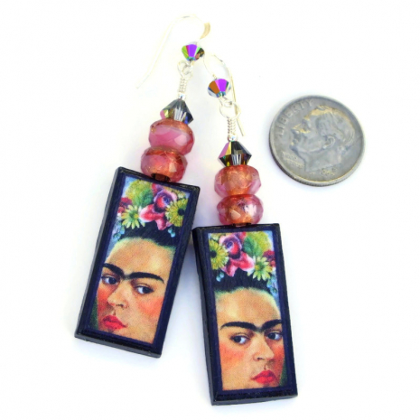 polymer clay frida kahlo jewelry with pink glass beads