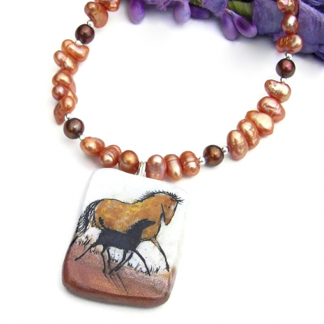 polymer clay horse pendant jewelry with pearls