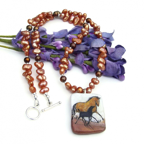 polymer clay horse pendant necklace with pearls