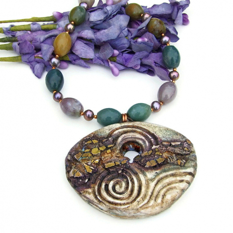 polymer clay spiral and gold rush pendant necklace with fancy jasper and pearls
