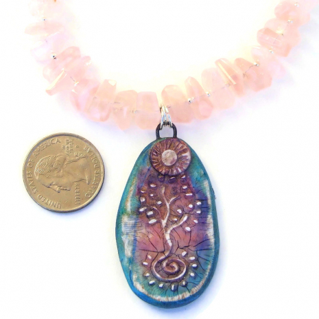 polymer clay tree of life pendant necklace pink rose quartz