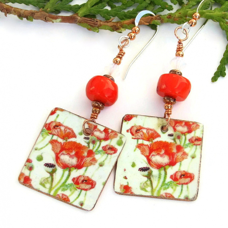 Mothers Day red poppies jewelry gift idea