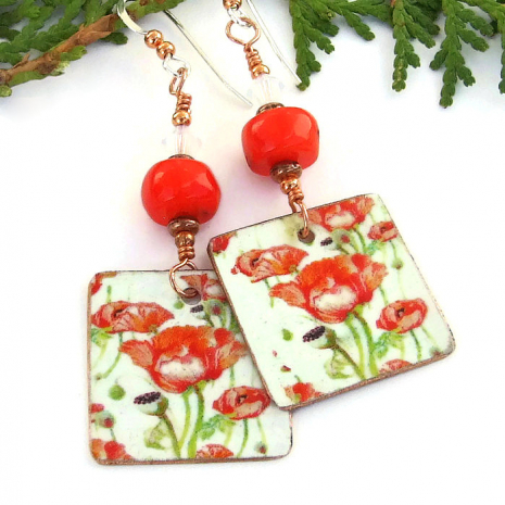 red poppies flower earrings gift for women