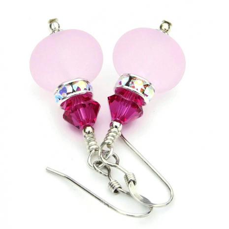 Sparkly pink artisan handmade earrings.