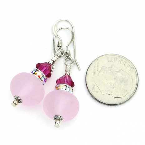 Sweet and feminine frosted pink and fuchsia handmade earrings.