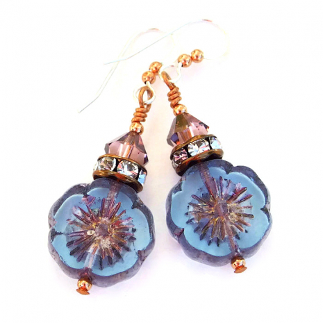 Blue floral earrings with crystals.