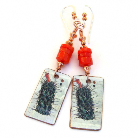 prickly cactus with red flower earrings gift for women