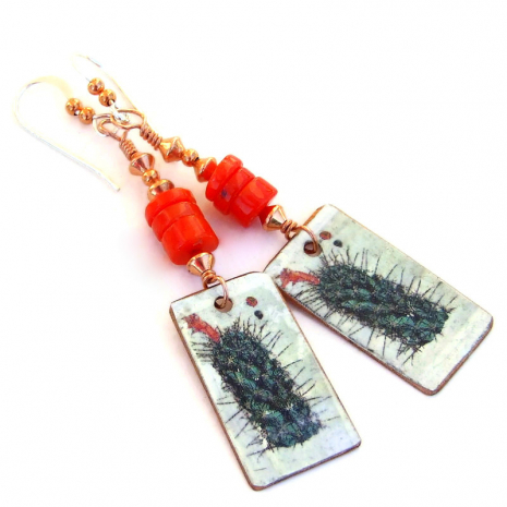 prickly cactus with red flower jewelry gift for women
