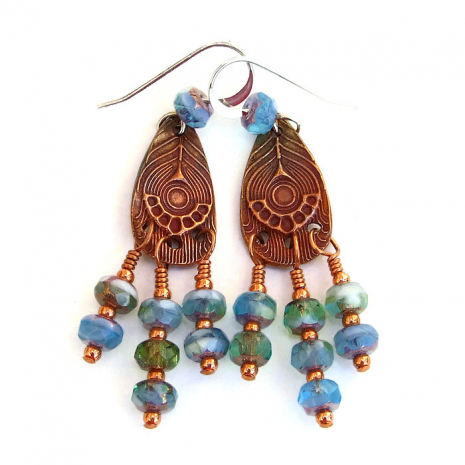 Unique copper peacock feather chandelier earrings with Czech glass dangles.