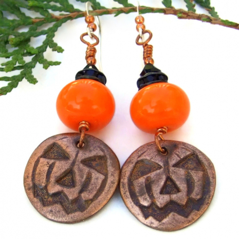 pumpkin halloween earrings orange lampwork black crystals
