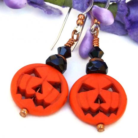 pumpkin jack o lantern halloween earrings