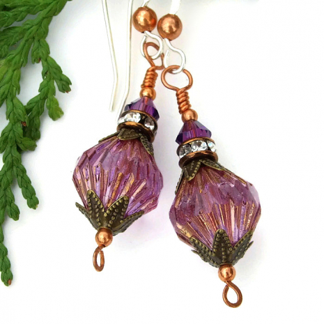 Handmade purple jewelry gift idea for her