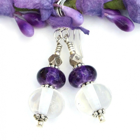 clear and purple lampwork earrings gift for women