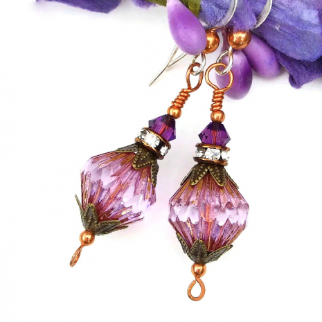 Purple Czech glass and crystal earrings for women