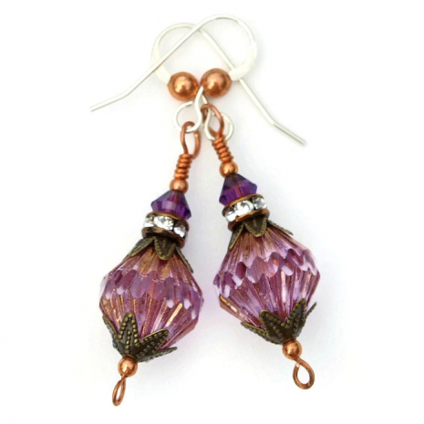 Handmade purple earrings